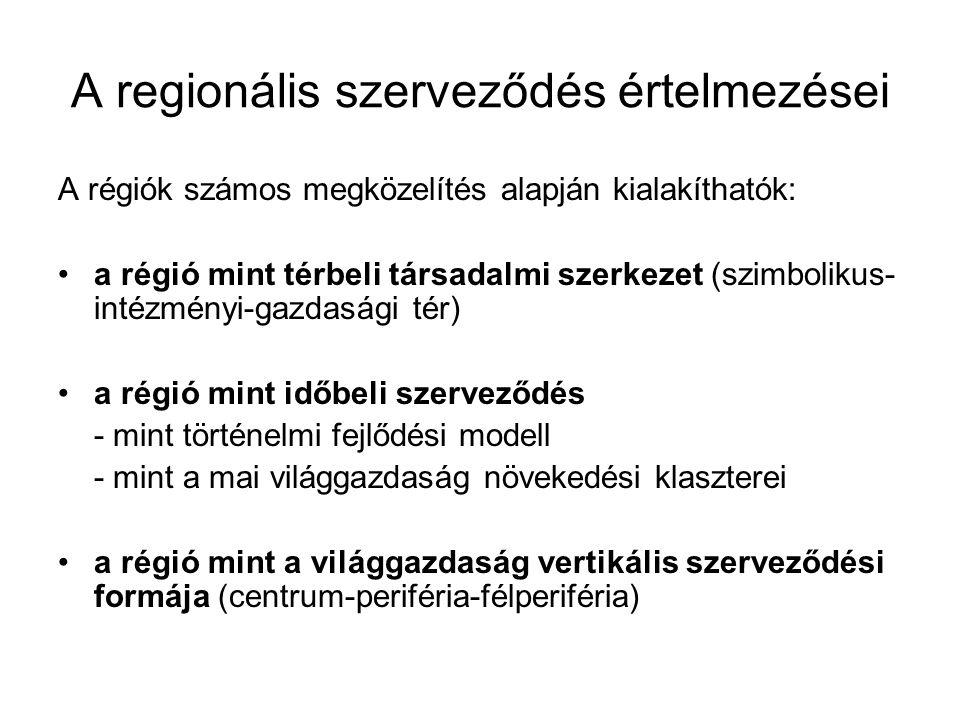 A regionális szerveződés értelmezései A régiók számos megközelítés alapján kialakíthatók: a régió mint térbeli társadalmi szerkezet (szimbolikus- inté