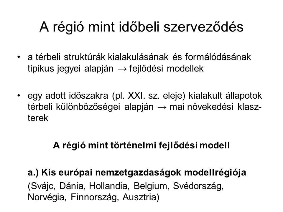 A régió mint időbeli szerveződés a térbeli struktúrák kialakulásának és formálódásának tipikus jegyei alapján → fejlődési modellek egy adott időszakra