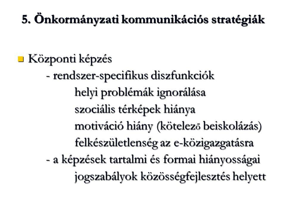 5. Önkormányzati kommunikációs stratégiák Központi képzés Központi képzés - rendszer-specifikus diszfunkciók helyi problémák ignorálása szociális térk