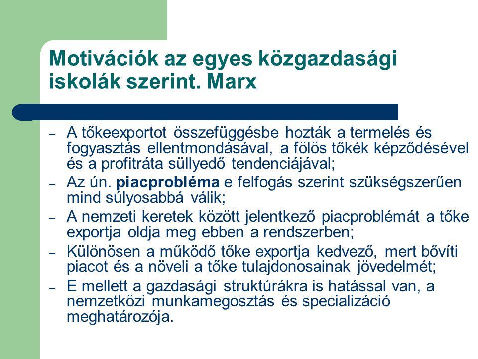Motivációk az egyes közgazdasági iskolák szerint. Marx – A tőkeexportot összefüggésbe hozták a termelés és fogyasztás ellentmondásával, a fölös tőkék