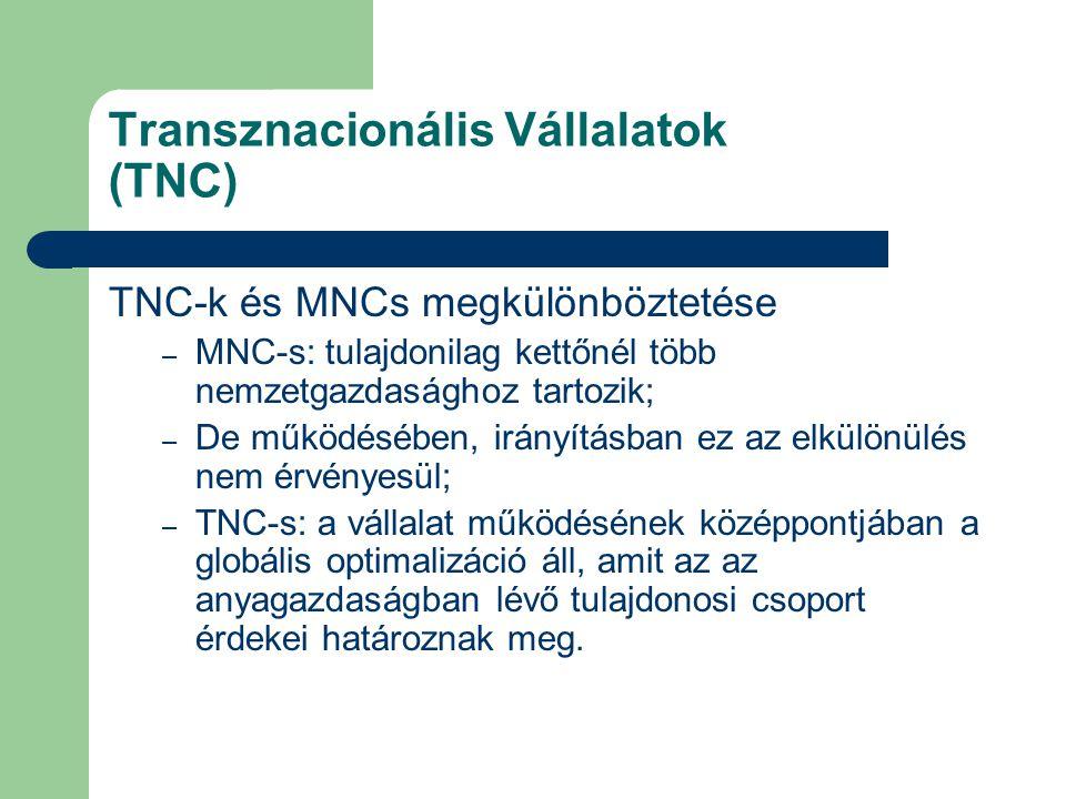 Transznacionális Vállalatok (TNC) TNC-k és MNCs megkülönböztetése – MNC-s: tulajdonilag kettőnél több nemzetgazdasághoz tartozik; – De működésében, ir
