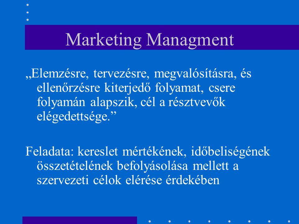 """Marketing Managment """"Elemzésre, tervezésre, megvalósításra, és ellenőrzésre kiterjedő folyamat, csere folyamán alapszik, cél a résztvevők elégedettség"""