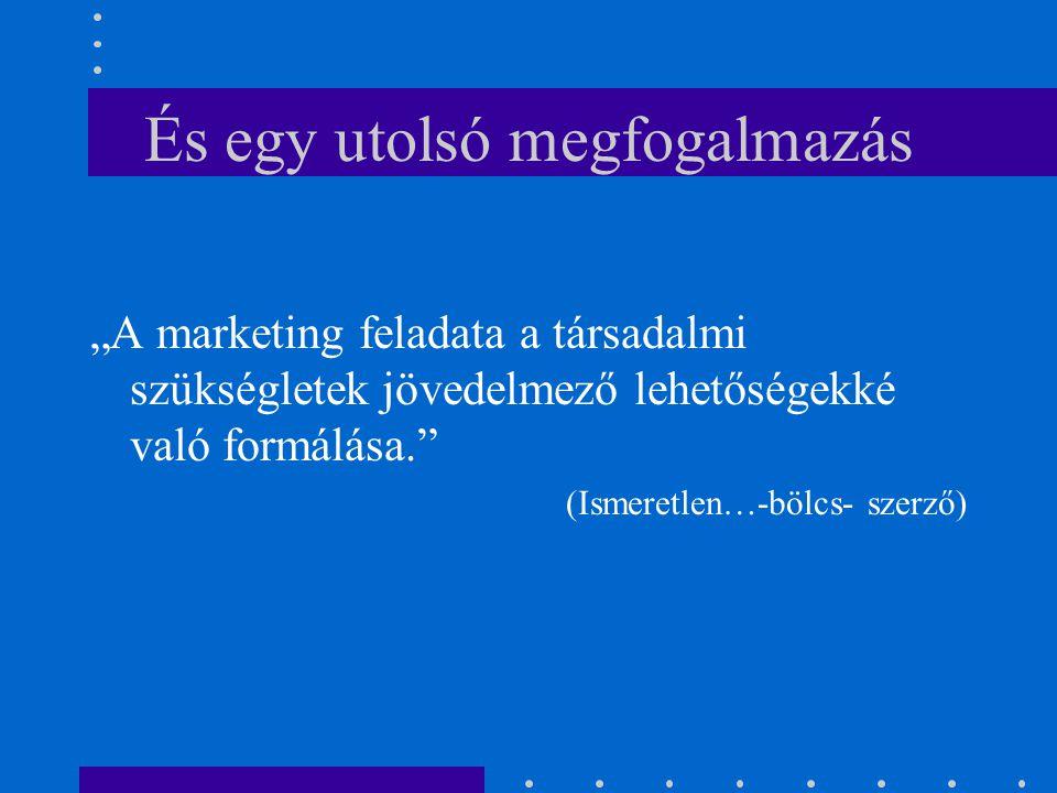 """És egy utolsó megfogalmazás """"A marketing feladata a társadalmi szükségletek jövedelmező lehetőségekké való formálása."""" (Ismeretlen…-bölcs- szerző)"""
