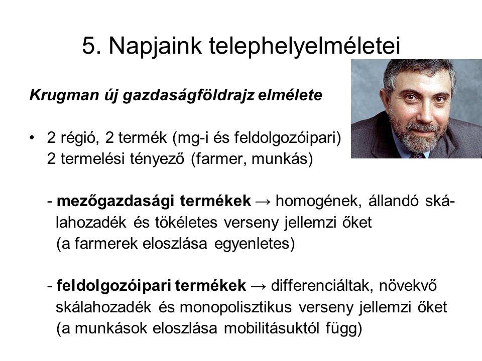 5. Napjaink telephelyelméletei Krugman új gazdaságföldrajz elmélete 2 régió, 2 termék (mg-i és feldolgozóipari) 2 termelési tényező (farmer, munkás) -