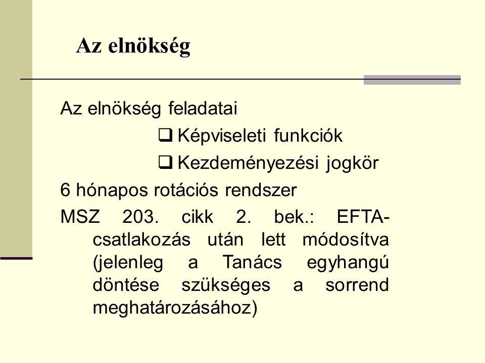 Az elnökség Az elnökség feladatai  Képviseleti funkciók  Kezdeményezési jogkör 6 hónapos rotációs rendszer MSZ 203. cikk 2. bek.: EFTA- csatlakozás