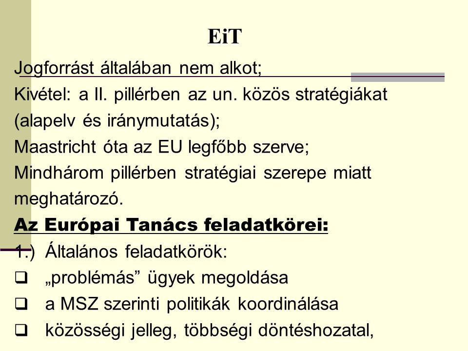 EiT EiT Jogforrást általában nem alkot; Kivétel: a II. pillérben az un. közös stratégiákat (alapelv és iránymutatás); Maastricht óta az EU legfőbb sze