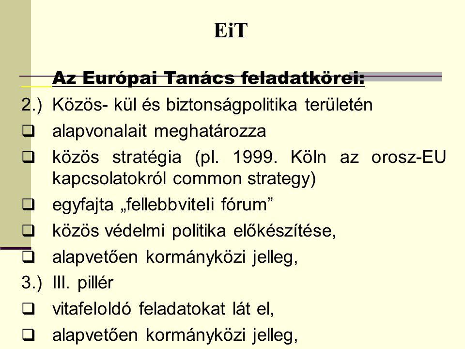 EiT EiT Az Európai Tanács feladatkörei: 2.)Közös- kül és biztonságpolitika területén  alapvonalait meghatározza  közös stratégia (pl. 1999. Köln az