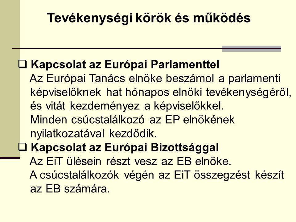 Tevékenységi körök és működés  Kapcsolat az Európai Parlamenttel Az Európai Tanács elnöke beszámol a parlamenti képviselőknek hat hónapos elnöki tevékenységéről, és vitát kezdeményez a képviselőkkel.
