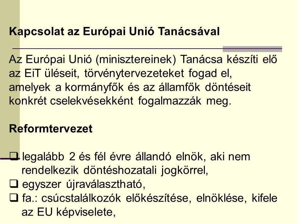 Kapcsolat az Európai Unió Tanácsával Az Európai Unió (minisztereinek) Tanácsa készíti elő az EiT üléseit, törvénytervezeteket fogad el, amelyek a kormányfők és az államfők döntéseit konkrét cselekvésekként fogalmazzák meg.