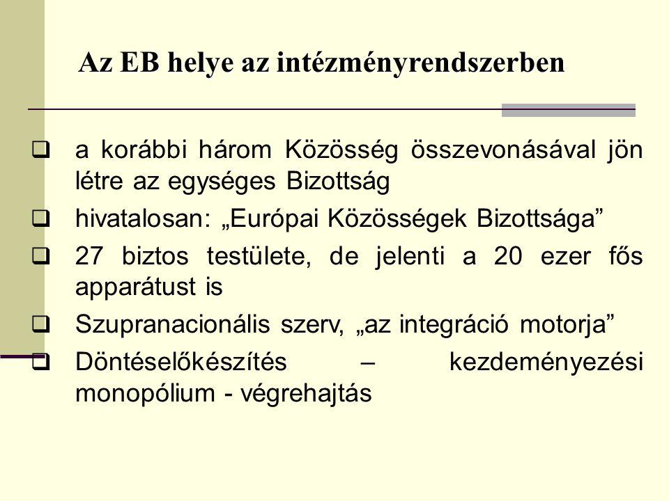 """Az EB helye az intézményrendszerben  a korábbi három Közösség összevonásával jön létre az egységes Bizottság  hivatalosan: """"Európai Közösségek Bizottsága  27 biztos testülete, de jelenti a 20 ezer fős apparátust is  Szupranacionális szerv, """"az integráció motorja  Döntéselőkészítés – kezdeményezési monopólium - végrehajtás"""