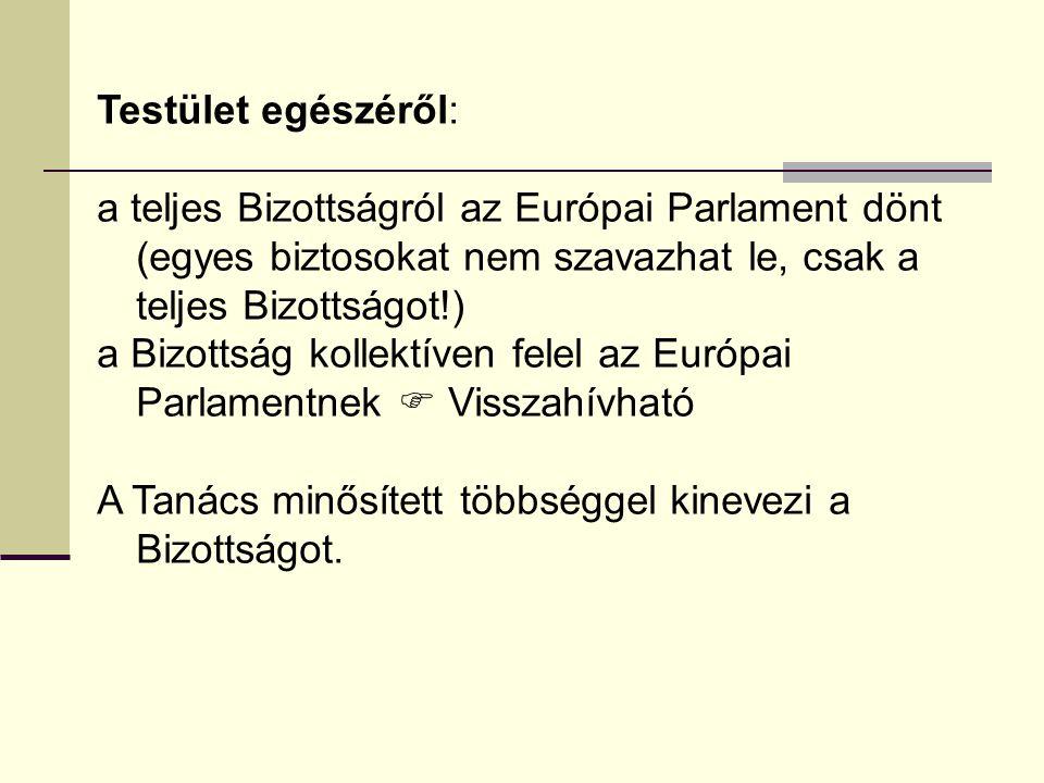 Testület egészéről: a teljes Bizottságról az Európai Parlament dönt (egyes biztosokat nem szavazhat le, csak a teljes Bizottságot!) a Bizottság kollektíven felel az Európai Parlamentnek  Visszahívható A Tanács minősített többséggel kinevezi a Bizottságot.