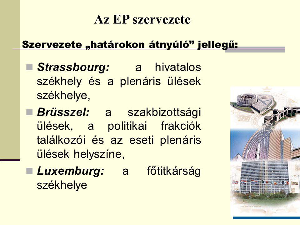 """Az EP szervezete Szervezete """"határokon átnyúló jellegű: Strassbourg: a hivatalos székhely és a plenáris ülések székhelye, Brüsszel: a szakbizottsági ülések, a politikai frakciók találkozói és az eseti plenáris ülések helyszíne, Luxemburg: a főtitkárság székhelye"""