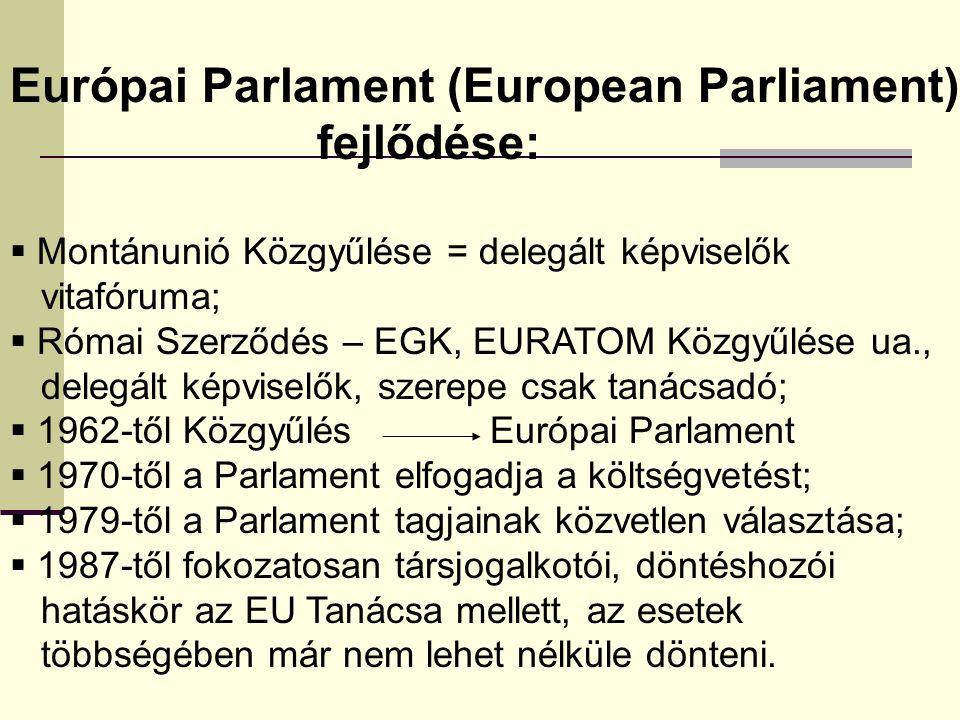 Európai Parlament (European Parliament) fejlődése:  Montánunió Közgyűlése = delegált képviselők vitafóruma;  Római Szerződés – EGK, EURATOM Közgyűlése ua., delegált képviselők, szerepe csak tanácsadó;  1962-től Közgyűlés Európai Parlament  1970-től a Parlament elfogadja a költségvetést;  1979-től a Parlament tagjainak közvetlen választása;  1987-től fokozatosan társjogalkotói, döntéshozói hatáskör az EU Tanácsa mellett, az esetek többségében már nem lehet nélküle dönteni.