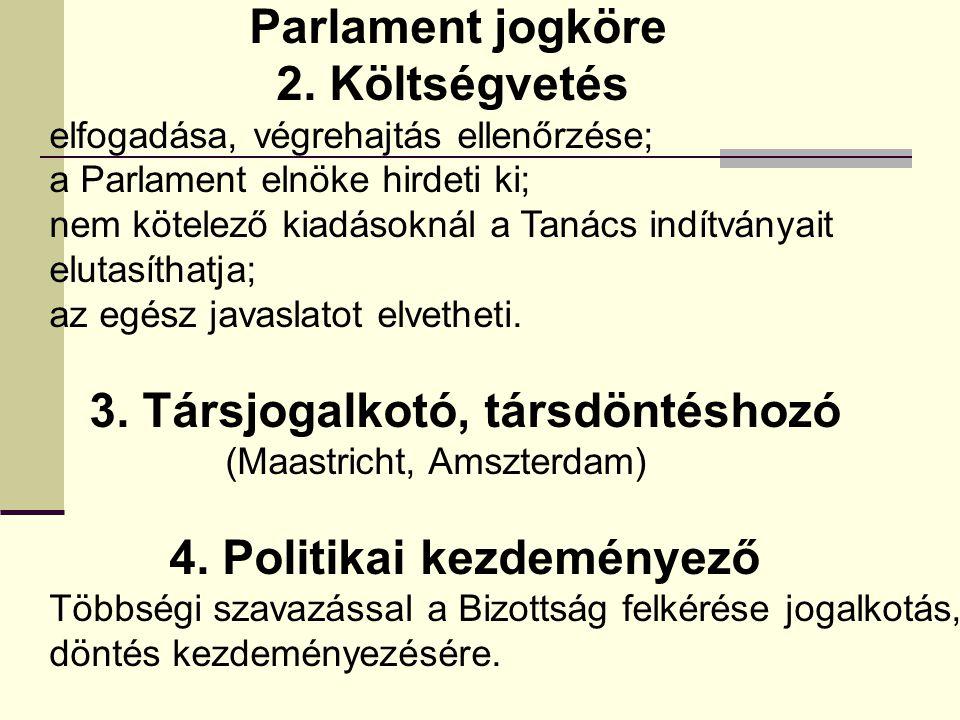 Parlament jogköre 2. Költségvetés elfogadása, végrehajtás ellenőrzése; a Parlament elnöke hirdeti ki; nem kötelező kiadásoknál a Tanács indítványait e