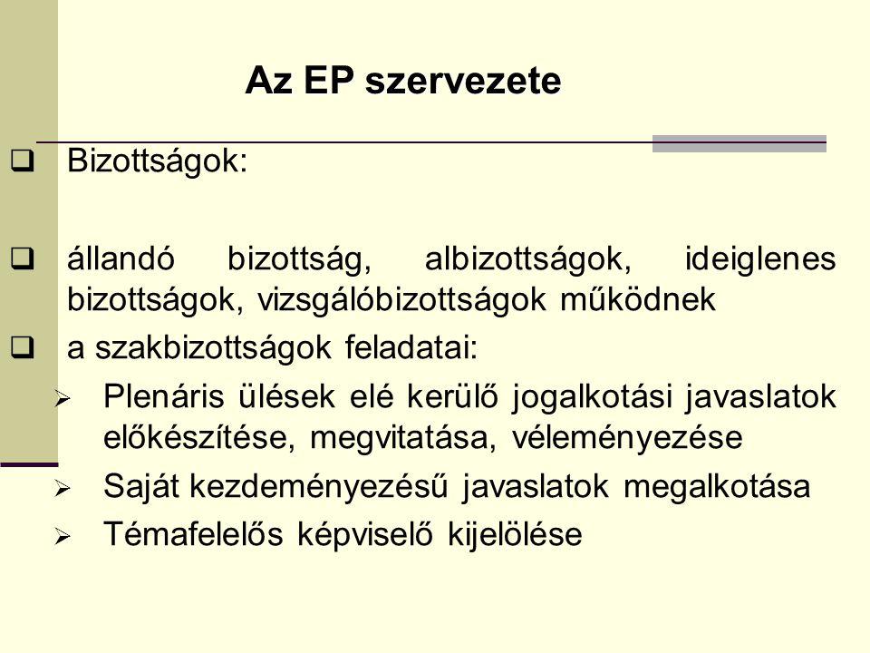 Az EP szervezete  Bizottságok:  állandó bizottság, albizottságok, ideiglenes bizottságok, vizsgálóbizottságok működnek  a szakbizottságok feladatai:  Plenáris ülések elé kerülő jogalkotási javaslatok előkészítése, megvitatása, véleményezése  Saját kezdeményezésű javaslatok megalkotása  Témafelelős képviselő kijelölése