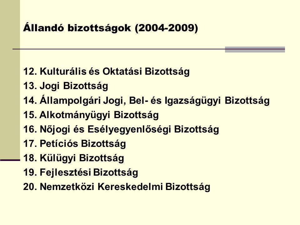 Állandó bizottságok (2004-2009) 12. Kulturális és Oktatási Bizottság 13. Jogi Bizottság 14. Állampolgári Jogi, Bel- és Igazságügyi Bizottság 15. Alkot