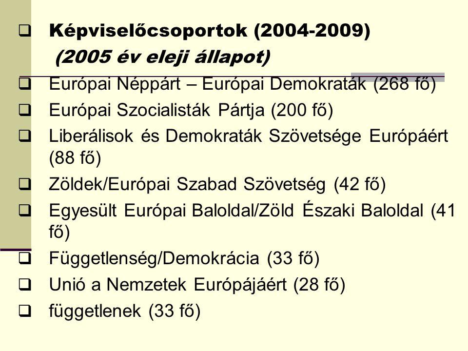 (2005 év eleji állapot)  Európai Néppárt – Európai Demokraták (268 fő)  Európai Szocialisták Pártja (200 fő)  Liberálisok és Demokraták Szövetsége Európáért (88 fő)  Zöldek/Európai Szabad Szövetség (42 fő)  Egyesült Európai Baloldal/Zöld Északi Baloldal (41 fő)  Függetlenség/Demokrácia (33 fő)  Unió a Nemzetek Európájáért (28 fő)  függetlenek (33 fő)