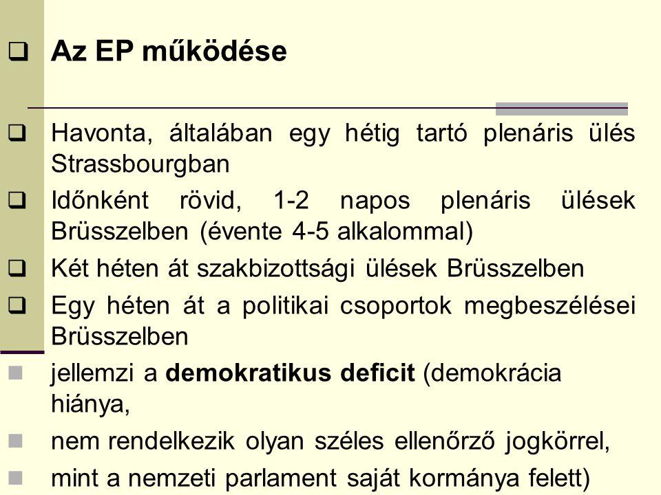  Az EP működése  Havonta, általában egy hétig tartó plenáris ülés Strassbourgban  Időnként rövid, 1-2 napos plenáris ülések Brüsszelben (évente 4-5 alkalommal)  Két héten át szakbizottsági ülések Brüsszelben  Egy héten át a politikai csoportok megbeszélései Brüsszelben jellemzi a demokratikus deficit (demokrácia hiánya, nem rendelkezik olyan széles ellenőrző jogkörrel, mint a nemzeti parlament saját kormánya felett)