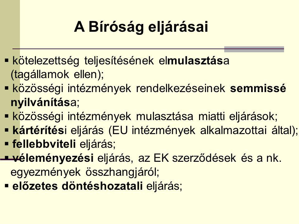 A Bíróság eljárásai  kötelezettség teljesítésének elmulasztása (tagállamok ellen);  közösségi intézmények rendelkezéseinek semmissé nyilvánítása;  közösségi intézmények mulasztása miatti eljárások;  kártérítési eljárás (EU intézmények alkalmazottai által);  fellebbviteli eljárás;  véleményezési eljárás, az EK szerződések és a nk.
