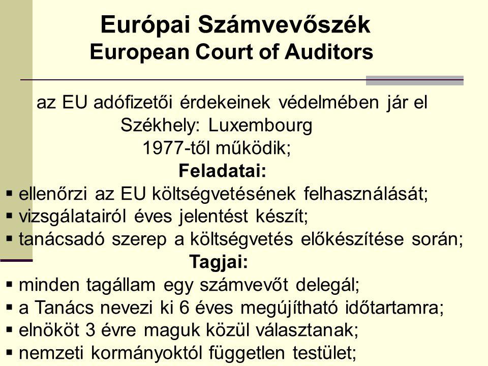 Európai Számvevőszék European Court of Auditors az EU adófizetői érdekeinek védelmében jár el Székhely: Luxembourg 1977-től működik; Feladatai:  ellenőrzi az EU költségvetésének felhasználását;  vizsgálatairól éves jelentést készít;  tanácsadó szerep a költségvetés előkészítése során; Tagjai:  minden tagállam egy számvevőt delegál;  a Tanács nevezi ki 6 éves megújítható időtartamra;  elnököt 3 évre maguk közül választanak;  nemzeti kormányoktól független testület;