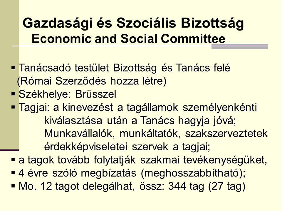 Gazdasági és Szociális Bizottság Economic and Social Committee  Tanácsadó testület Bizottság és Tanács felé (Római Szerződés hozza létre) (Római Szerződés hozza létre)  Székhelye: Brüsszel  Tagjai: a kinevezést a tagállamok személyenkénti kiválasztása után a Tanács hagyja jóvá; kiválasztása után a Tanács hagyja jóvá; Munkavállalók, munkáltatók, szakszerveztetek Munkavállalók, munkáltatók, szakszerveztetek érdekképviseletei szervek a tagjai; érdekképviseletei szervek a tagjai;  a tagok tovább folytatják szakmai tevékenységüket,  4 évre szóló megbízatás (meghosszabbítható);  Mo.