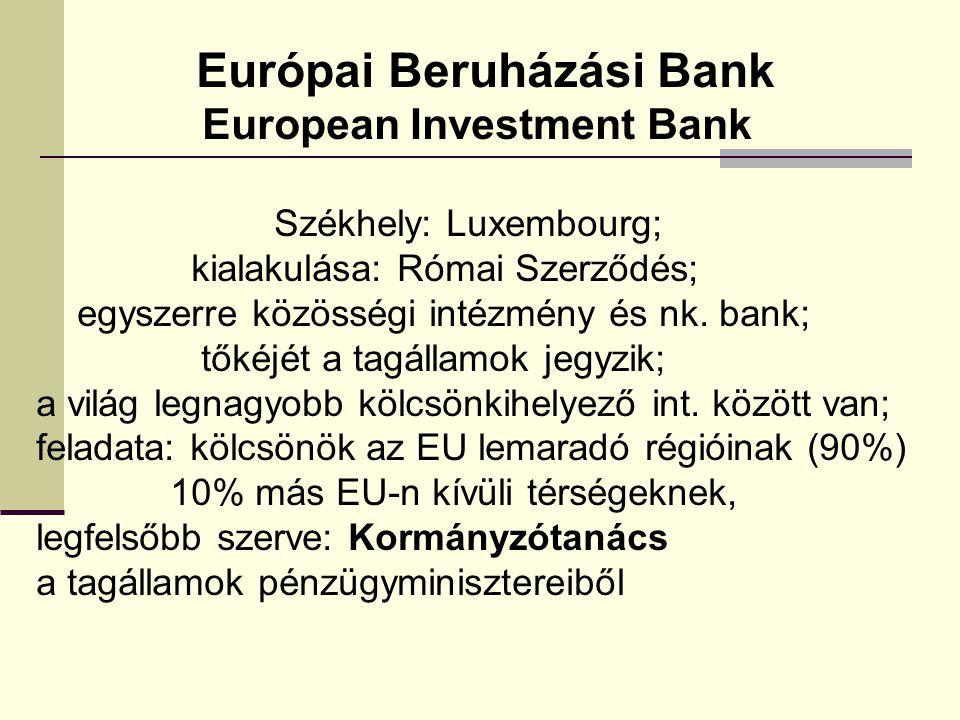 Európai Beruházási Bank European Investment Bank Székhely: Luxembourg; kialakulása: Római Szerződés; egyszerre közösségi intézmény és nk. bank; tőkéjé