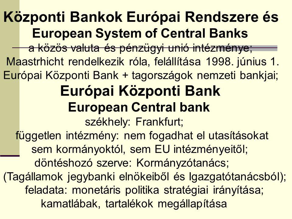 Központi Bankok Európai Rendszere és European System of Central Banks a közös valuta és pénzügyi unió intézménye; Maastrhicht rendelkezik róla, felállítása 1998.