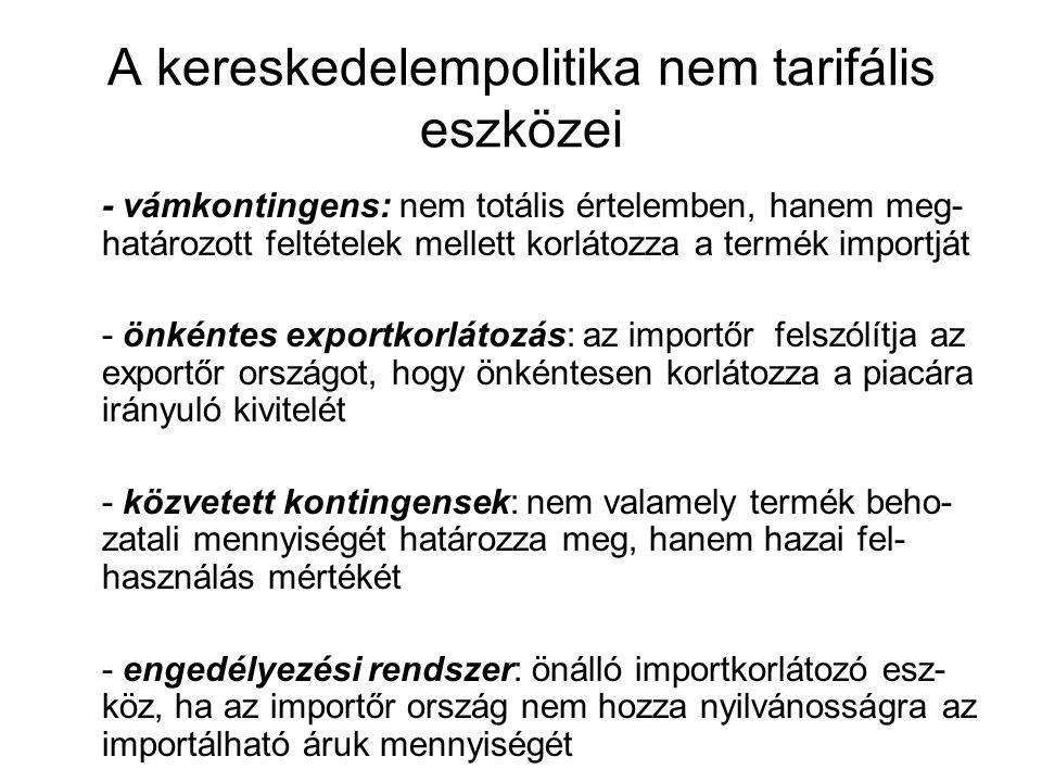A kereskedelempolitika nem tarifális eszközei - vámkontingens: nem totális értelemben, hanem meg- határozott feltételek mellett korlátozza a termék im