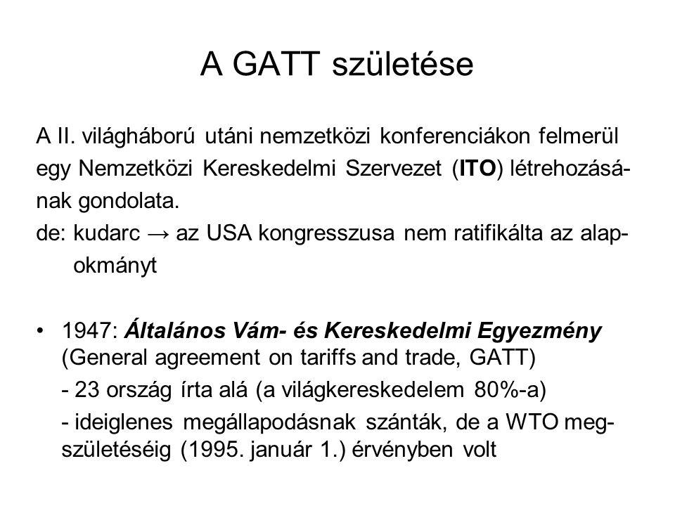 A GATT születése A II. világháború utáni nemzetközi konferenciákon felmerül egy Nemzetközi Kereskedelmi Szervezet (ITO) létrehozásá- nak gondolata. de