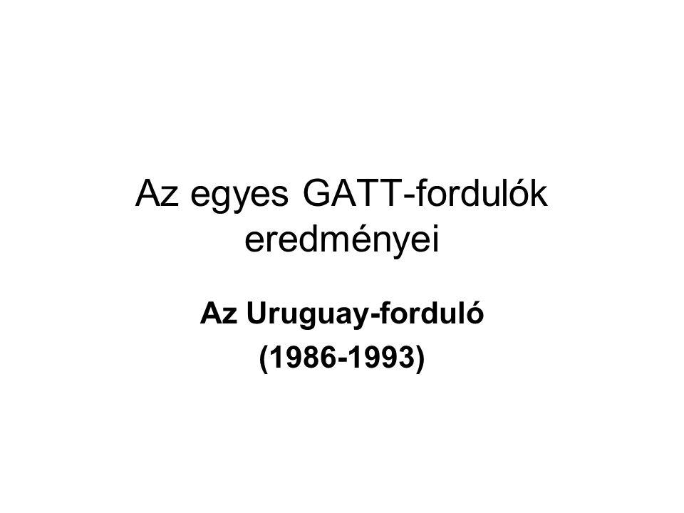 Az egyes GATT-fordulók eredményei Az Uruguay-forduló (1986-1993)