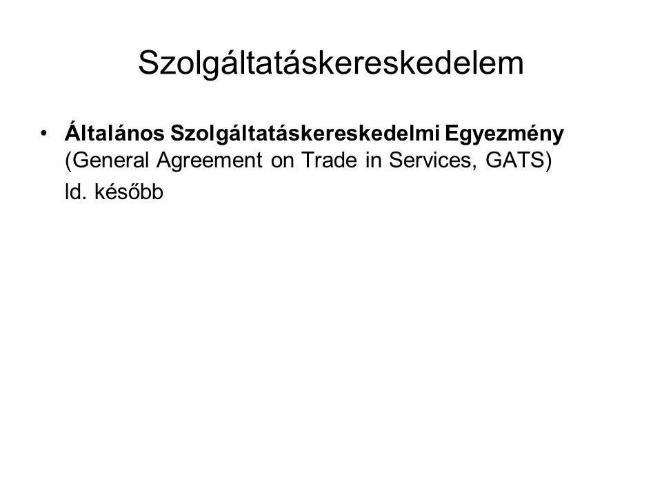 Szolgáltatáskereskedelem Általános Szolgáltatáskereskedelmi Egyezmény (General Agreement on Trade in Services, GATS) ld. később