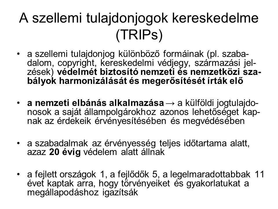 A szellemi tulajdonjogok kereskedelme (TRIPs) a szellemi tulajdonjog különböző formáinak (pl. szaba- dalom, copyright, kereskedelmi védjegy, származás