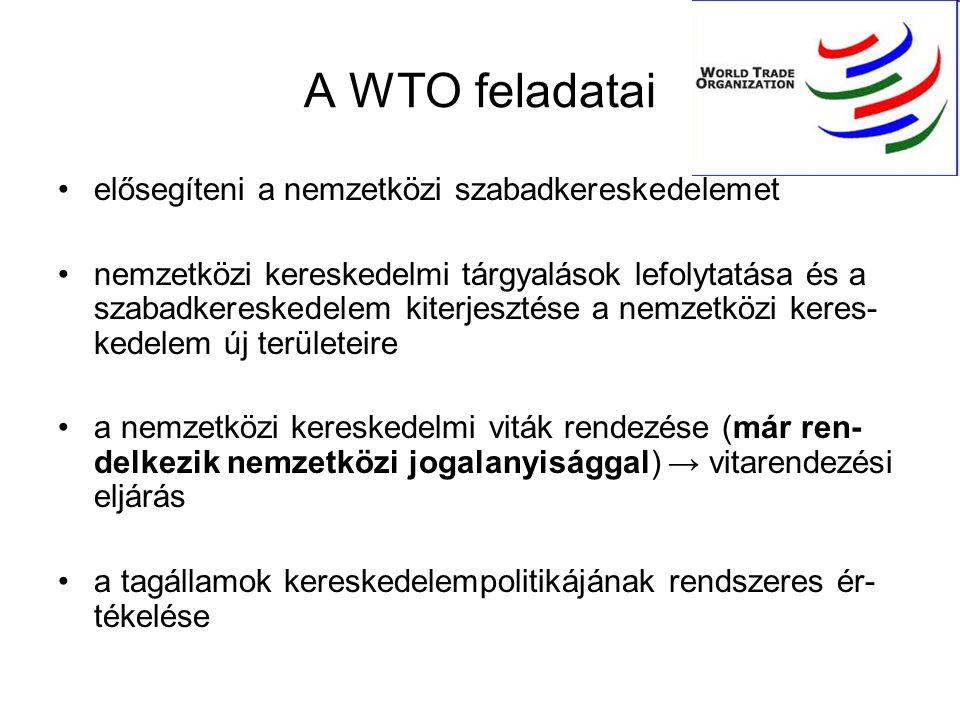 A WTO feladatai elősegíteni a nemzetközi szabadkereskedelemet nemzetközi kereskedelmi tárgyalások lefolytatása és a szabadkereskedelem kiterjesztése a