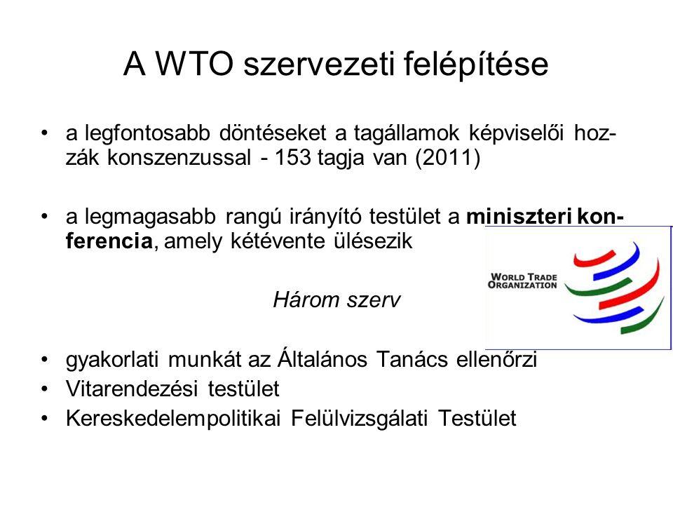 A WTO szervezeti felépítése a legfontosabb döntéseket a tagállamok képviselői hoz- zák konszenzussal - 153 tagja van (2011) a legmagasabb rangú irányí