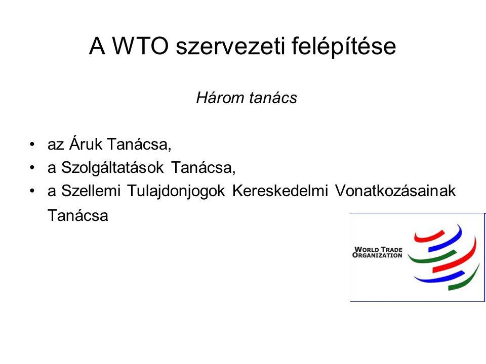 A WTO szervezeti felépítése Három tanács az Áruk Tanácsa, a Szolgáltatások Tanácsa, a Szellemi Tulajdonjogok Kereskedelmi Vonatkozásainak Tanácsa