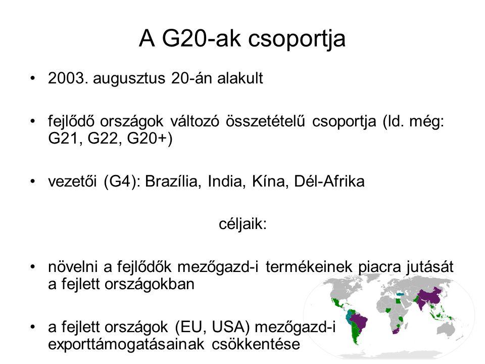 A G20-ak csoportja 2003. augusztus 20-án alakult fejlődő országok változó összetételű csoportja (ld. még: G21, G22, G20+) vezetői (G4): Brazília, Indi
