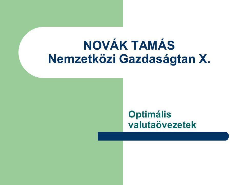 NOVÁK TAMÁS Nemzetközi Gazdaságtan X. Optimális valutaövezetek