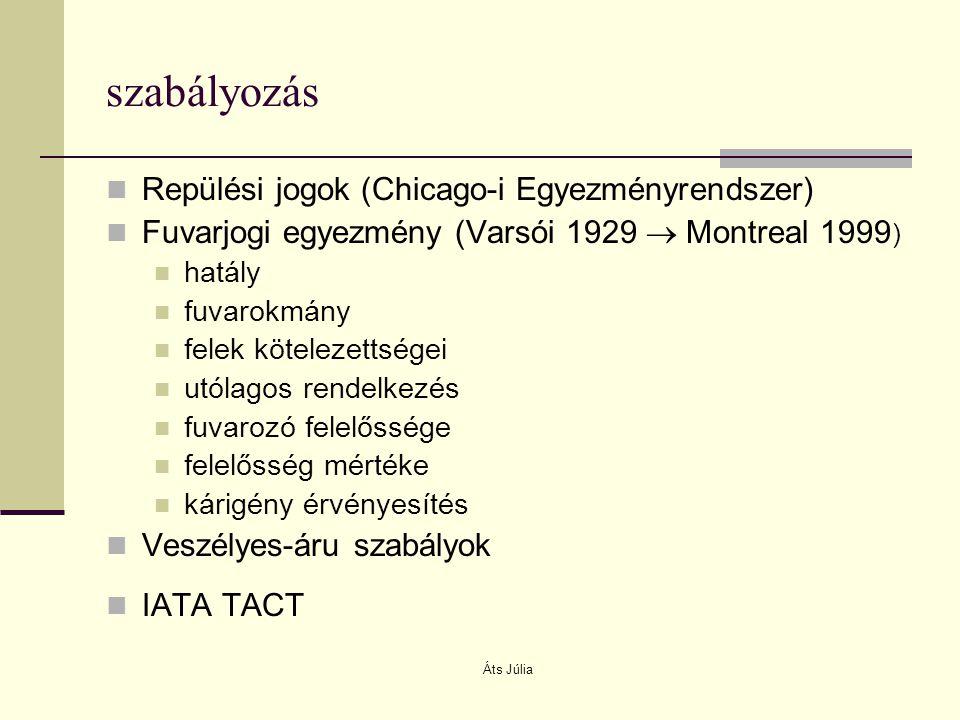 Áts Júlia szabályozás Repülési jogok (Chicago-i Egyezményrendszer) Fuvarjogi egyezmény (Varsói 1929  Montreal 1999 ) hatály fuvarokmány felek kötelez