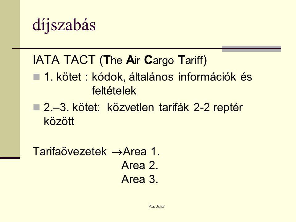 Áts Júlia díjszabás IATA TACT (T he A ir C argo T ariff ) 1. kötet :kódok, általános információk és feltételek 2.–3. kötet: közvetlen tarifák 2-2 rept
