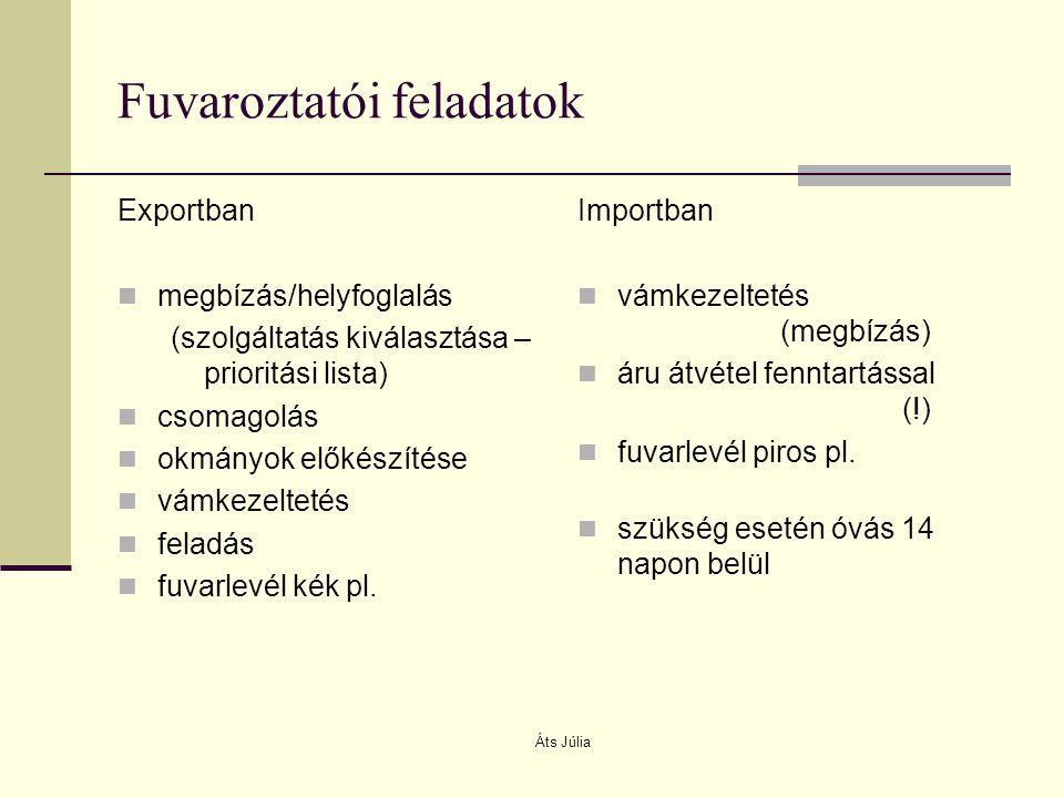 Áts Júlia Fuvaroztatói feladatok Exportban megbízás/helyfoglalás (szolgáltatás kiválasztása – prioritási lista) csomagolás okmányok előkészítése vámke