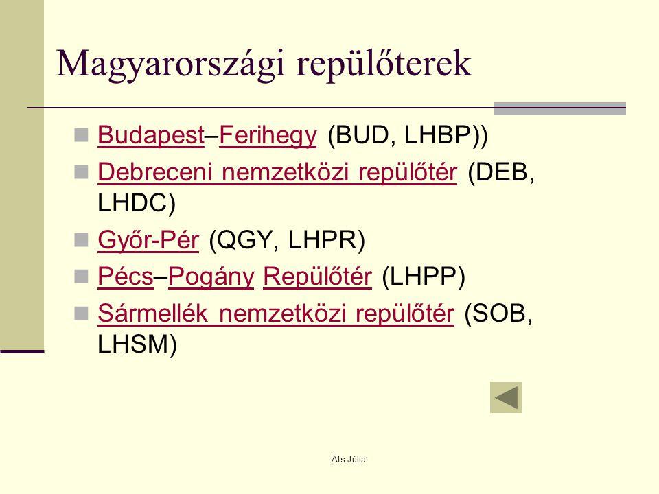 Áts Júlia Magyarországi repülőterek Budapest–Ferihegy (BUD, LHBP)) BudapestFerihegy Debreceni nemzetközi repülőtér (DEB, LHDC) Debreceni nemzetközi re