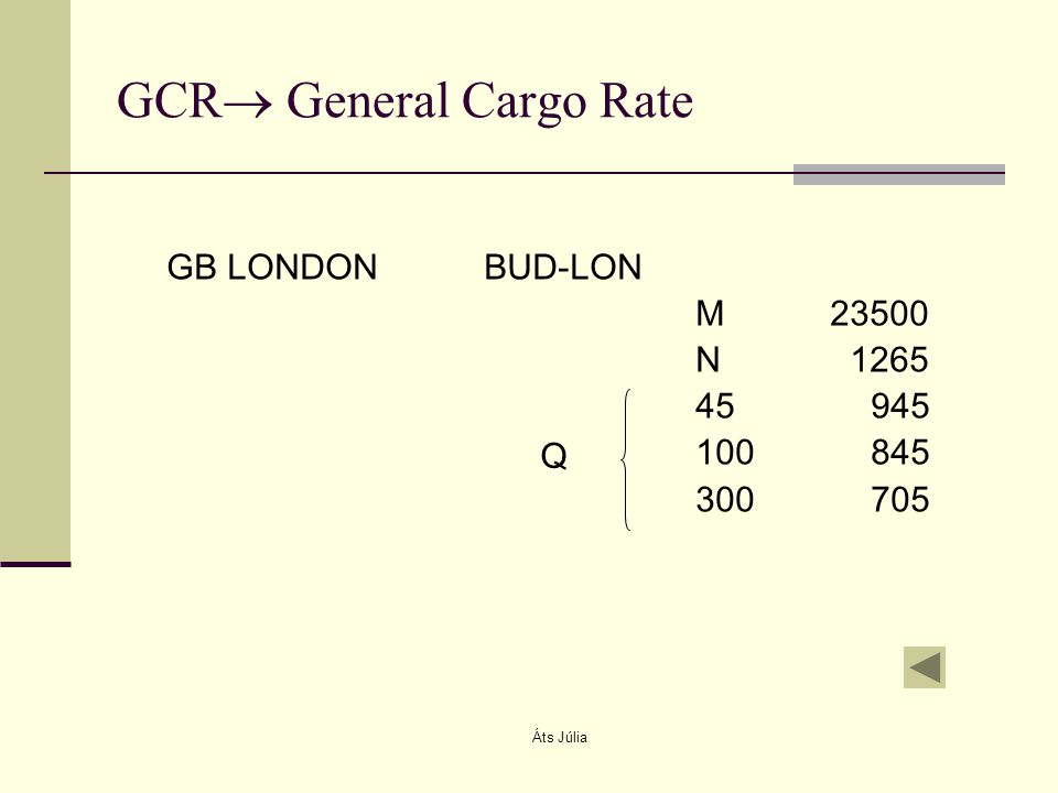 Áts Júlia GCR  General Cargo Rate GB LONDONBUD-LON M 23500 N 1265 45 945 100 845 300 705 Q