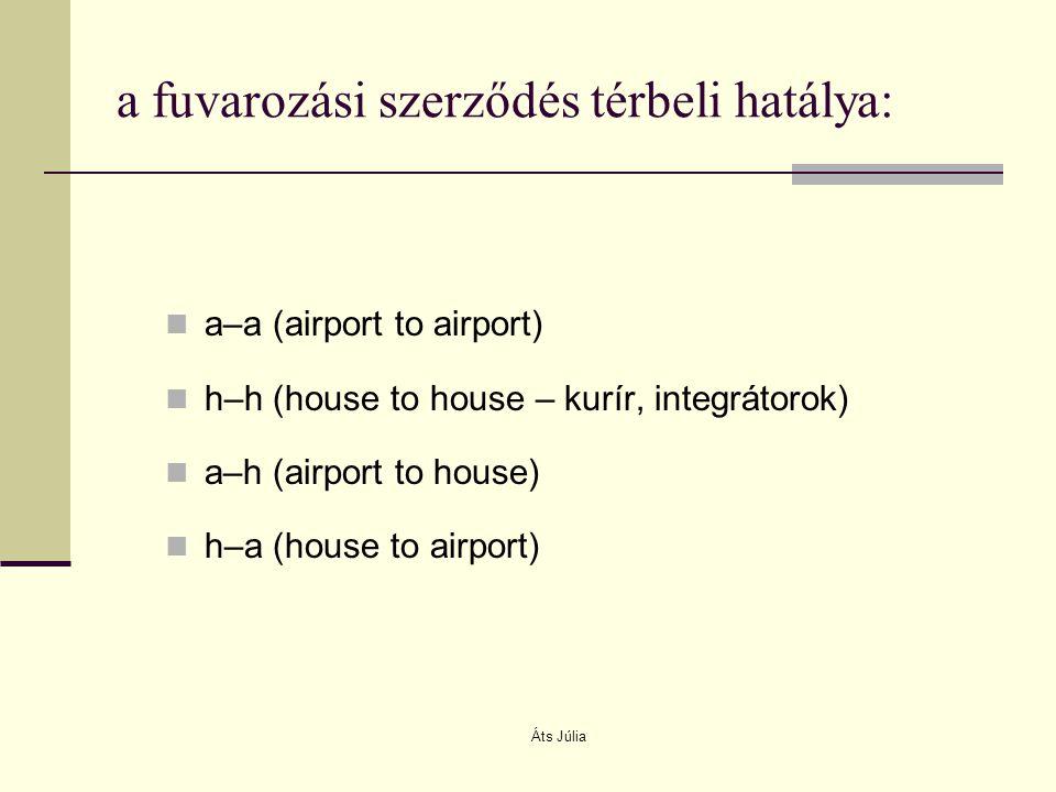 Áts Júlia a fuvarozási szerződés térbeli hatálya: a–a (airport to airport) h–h (house to house – kurír, integrátorok) a–h (airport to house) h–a (hous
