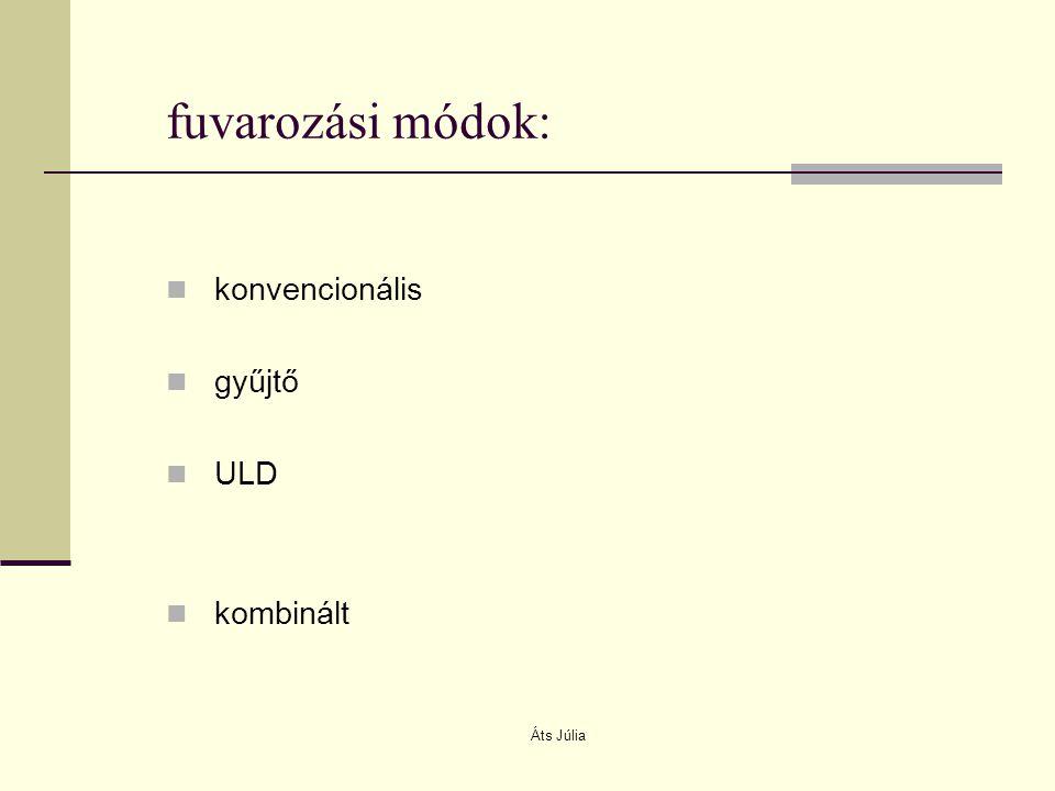 Áts Júlia fuvarozási módok: konvencionális gyűjtő ULD kombinált