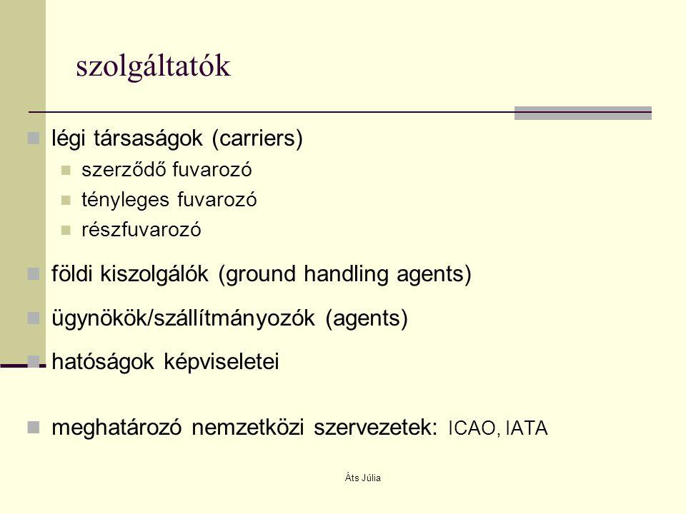 Áts Júlia szolgáltatók légi társaságok (carriers) szerződő fuvarozó tényleges fuvarozó részfuvarozó földi kiszolgálók (ground handling agents) ügynökö
