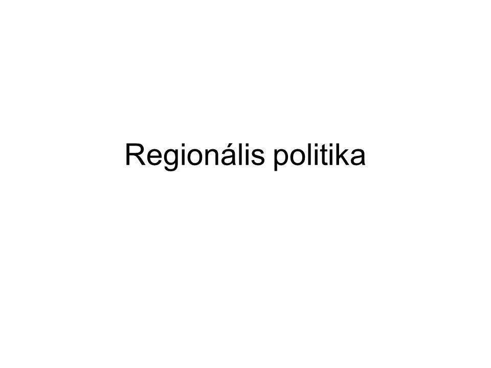 A regionális politika fogalma a területrendszer működésébe történő tudatos beavatko- zásokat jelenti célja az egyes területek fejlettségbeli eltéréseinek korrigá- lása, az elmaradott, leszakadó térségek felzárkóztatása Mo-n inkább a területfejlesztés fogalmat használják, ami ugyanazt jelenti alkalmazásának alapvető feltétele, hogy a területi jellem- zőket számszerűsítsük, összehasonlíthatóvá tegyük (pl.: egy főre jutó GDP, munkanélküliségi ráta)