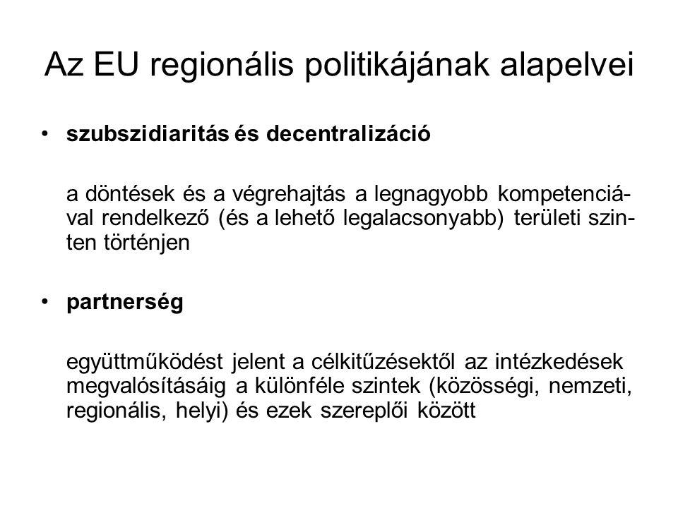 Az EU regionális politikájának alapelvei szubszidiaritás és decentralizáció a döntések és a végrehajtás a legnagyobb kompetenciá- val rendelkező (és a