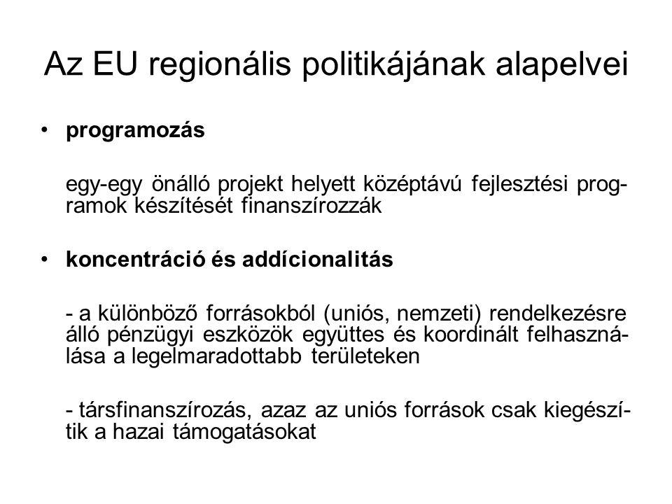Az EU regionális politikájának alapelvei programozás egy-egy önálló projekt helyett középtávú fejlesztési prog- ramok készítését finanszírozzák koncen