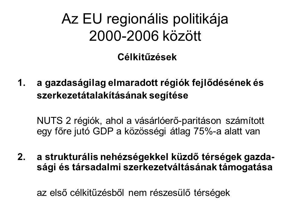 Az EU regionális politikája 2000-2006 között Célkitűzések 1.a gazdaságilag elmaradott régiók fejlődésének és szerkezetátalakításának segítése NUTS 2 r