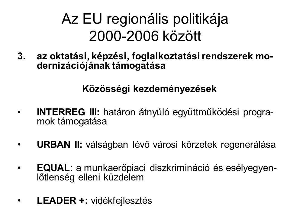 Az EU regionális politikája 2000-2006 között 3.az oktatási, képzési, foglalkoztatási rendszerek mo- dernizációjának támogatása Közösségi kezdeményezés